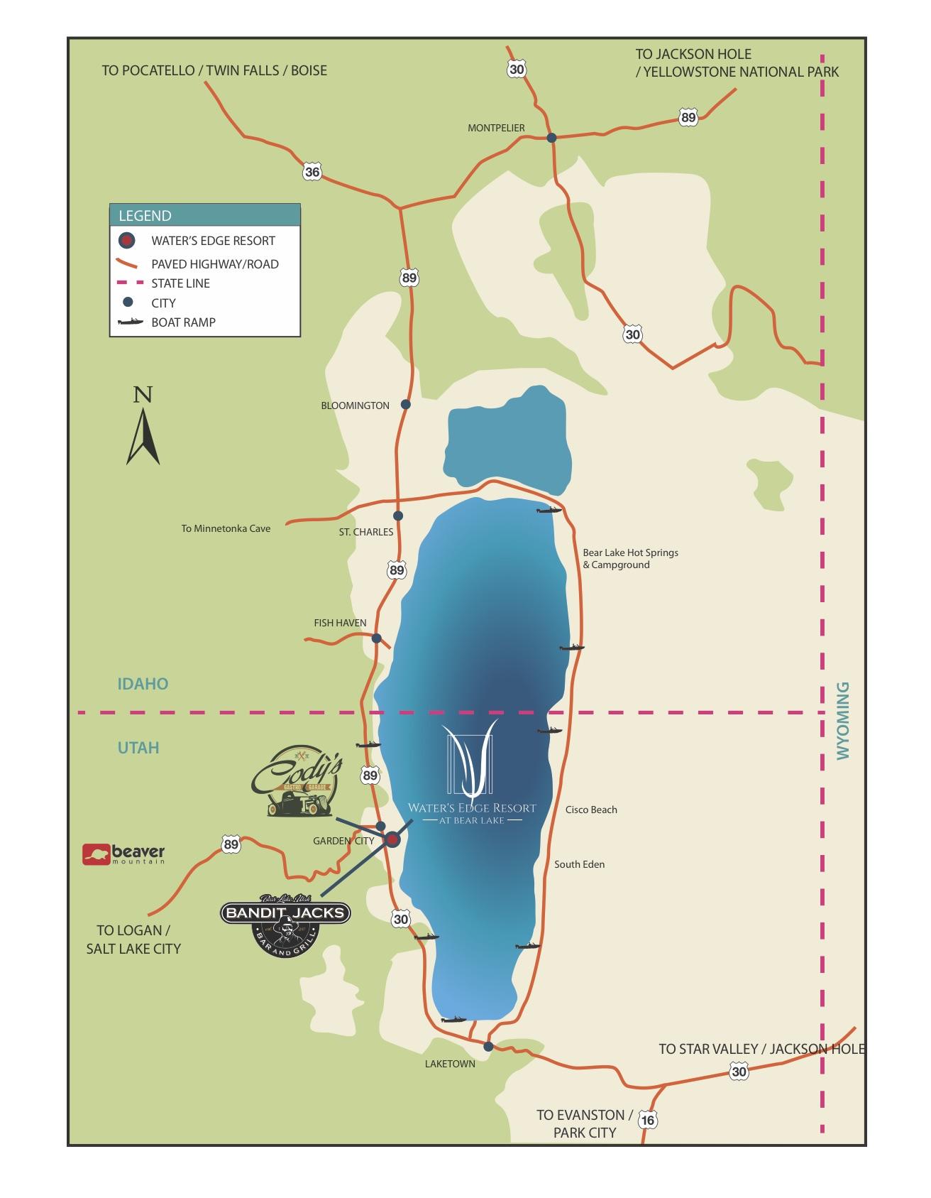 Bear Lake Map Waters Edge Resort The Waters Edge Resort at